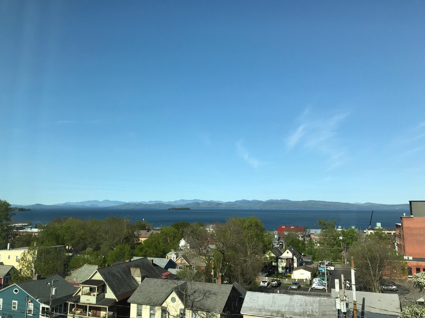 View from Burlington, VT hotel looking out across the lake